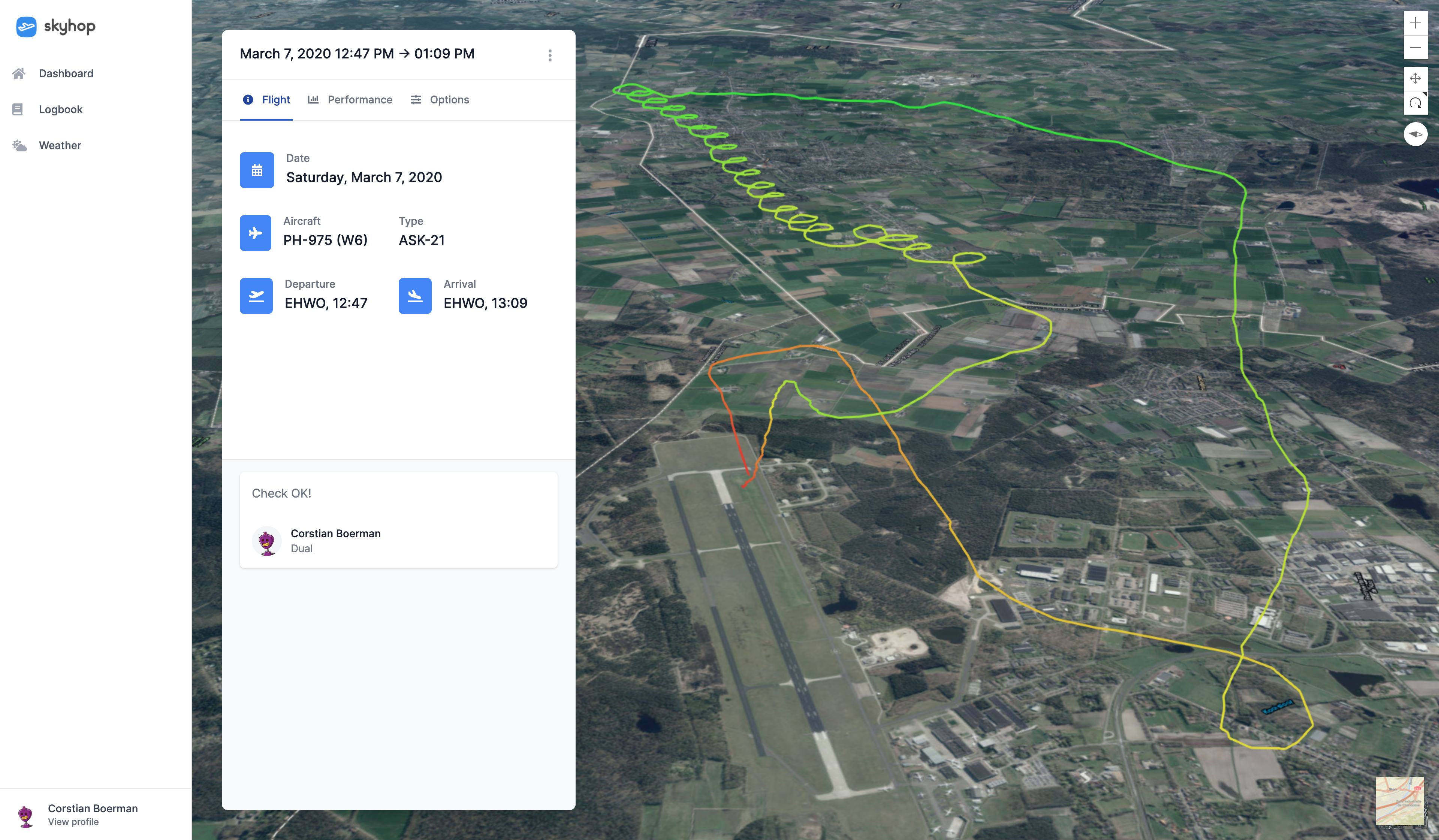 three dimensional (3D) map showing the flight path in a glider with some general flight information such as departure and arrival times as well as airfield information in the left